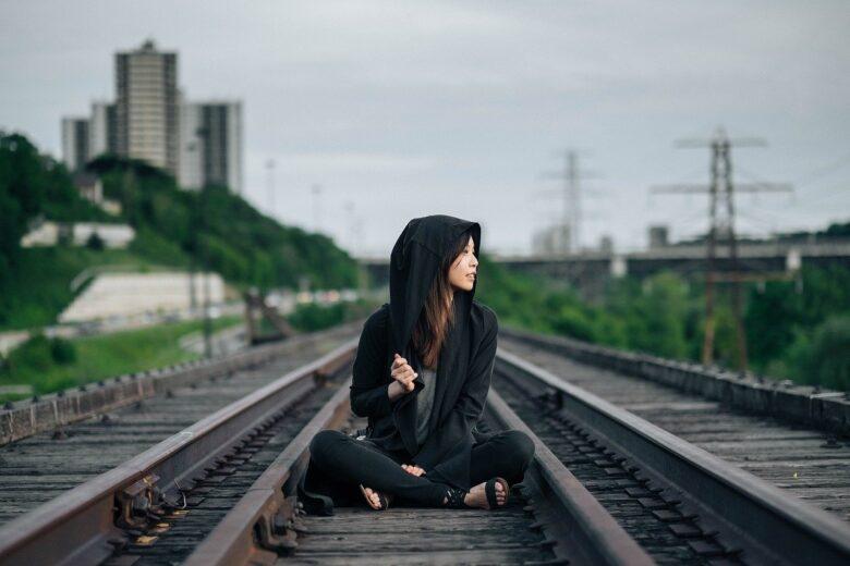 a girl on the rail