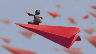 赤い紙飛行機に乗る男